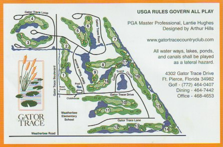 golf course score card back with course layout