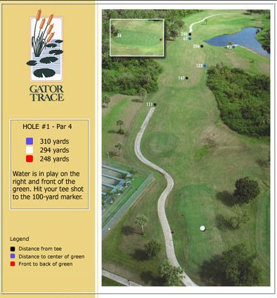 hole 1 yardage and aerial