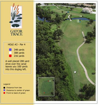 hole 2 yardage and aerial