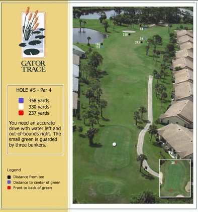 hole 5 yardage and aerial