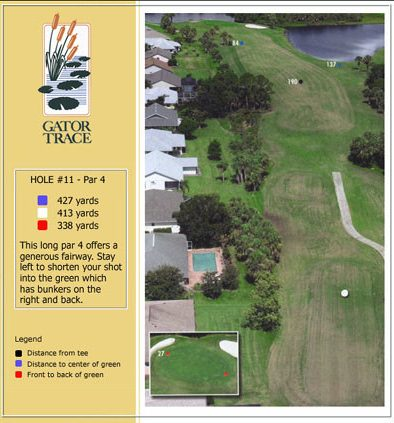 hole 11 yardage and aerial