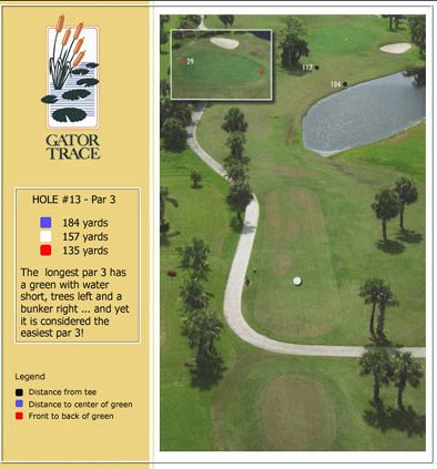 hole 13 yardage and aerial