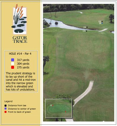 hole 14 yardage and aerial