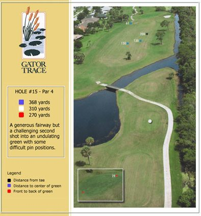 hole 15 yardage and aerial