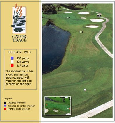 hole 17 yardage and aerial