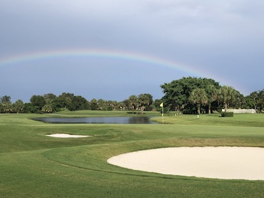 rainbow over hole 17 at Gator Trace