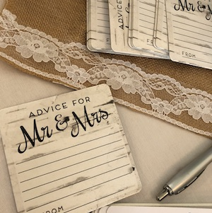 Gator Trace wedding advice cards